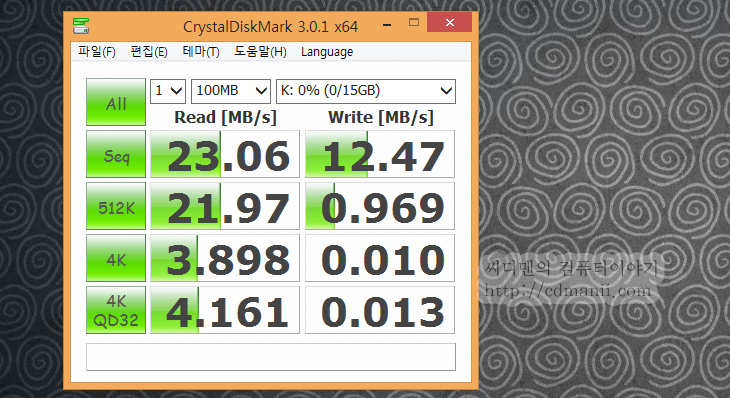 삼성 MicroSD, MicroSDXC, MicroSDHC, MicroSD, 삼성, IT, 리뷰, 사용기, 벤치마크, 크리스탈디스크마크, Class10, 삼성 MicroSD 64GB가 하나 생겨서 글을 적어 봅니다. 그전에 쓰던 것은 메모렛 마이크로SD 32GB 였는데요. 요즘은 점점 고용량이 되어서 64GB도 꽤 많은 사람들이 선택을 하고 있습니다. 그 중에서도 단연 돋보이는것이 삼성 MicroSD 64GB 입니다. 성능도 꽤 괜찮고 안정성도 괜찮기 때문이죠. 제 경우에는 삼성 MICROSDXC UHS-I 64GB CLASS10를 갤럭시S4에 연결해서 쓰고 있는데요. 기존에 메모렛 MicroSD 32GB의 내용을 모두 옮겨놓고도 여유공간이 넉넉해서 꽤 편하게 쓰고 있습니다. 물론 구형 디바이스에서는 64GB가 재대로 인식되는지 먼저 확인 후 구매하셔야 합니다. 공간이 넉넉해지니 사진도 더 많이 찍게되고 영화등도 더 많이 넣어서 다니게 되네요. 다만 사진을 너무 한 폴더에 많이 찍어서 인지 갤럭시S4로 사진 3000개 이상을 다 불러오려고 하니 시간이 꽤 많이 지체되더군요.
