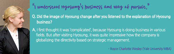 I understood Hyosung's business and way of pursuit