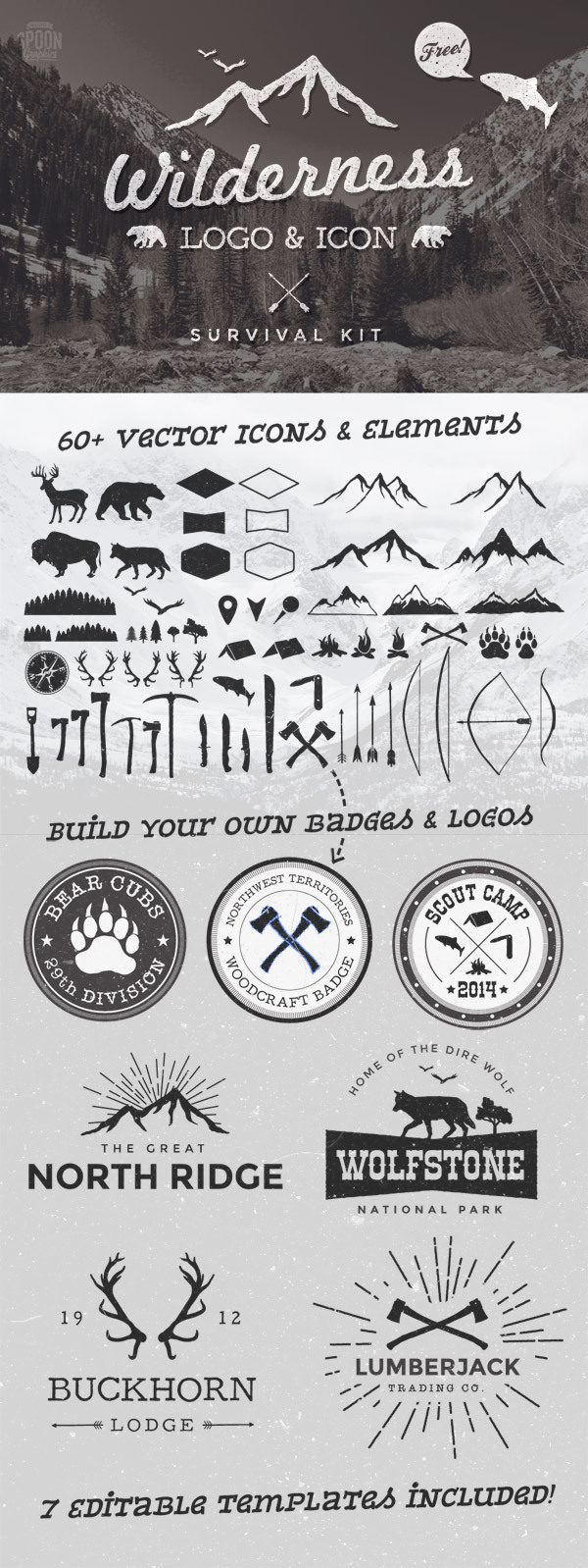 7 가지 무료 벡터 로고 템플릿 - 7 Free Vector Wilderness Logo Templates