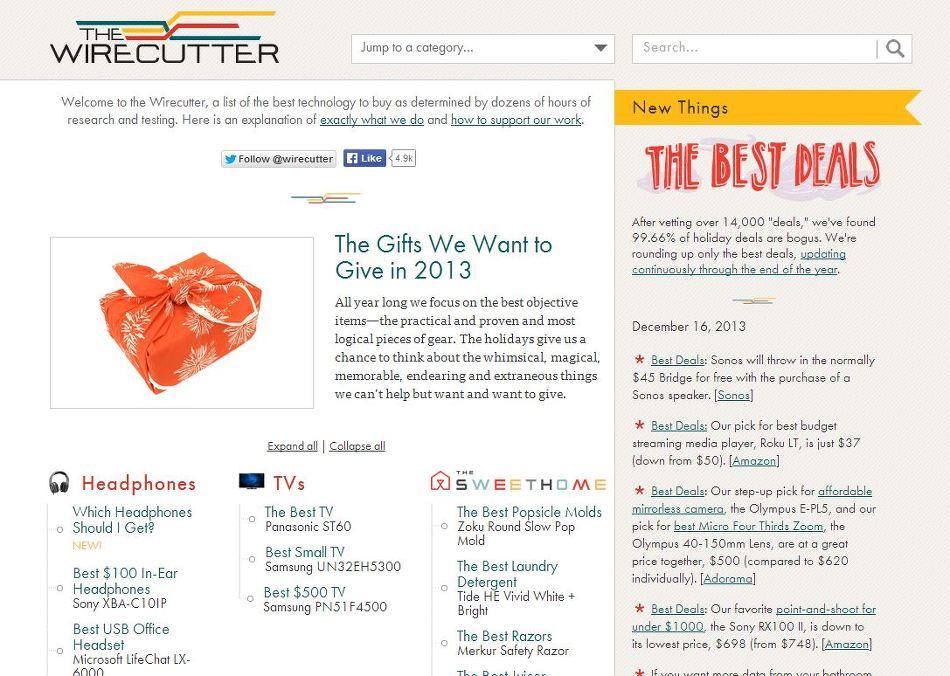 지금 이 순간, 지르기 가장 좋은 상품은 무엇일까. The Wirecutter 웹사이트