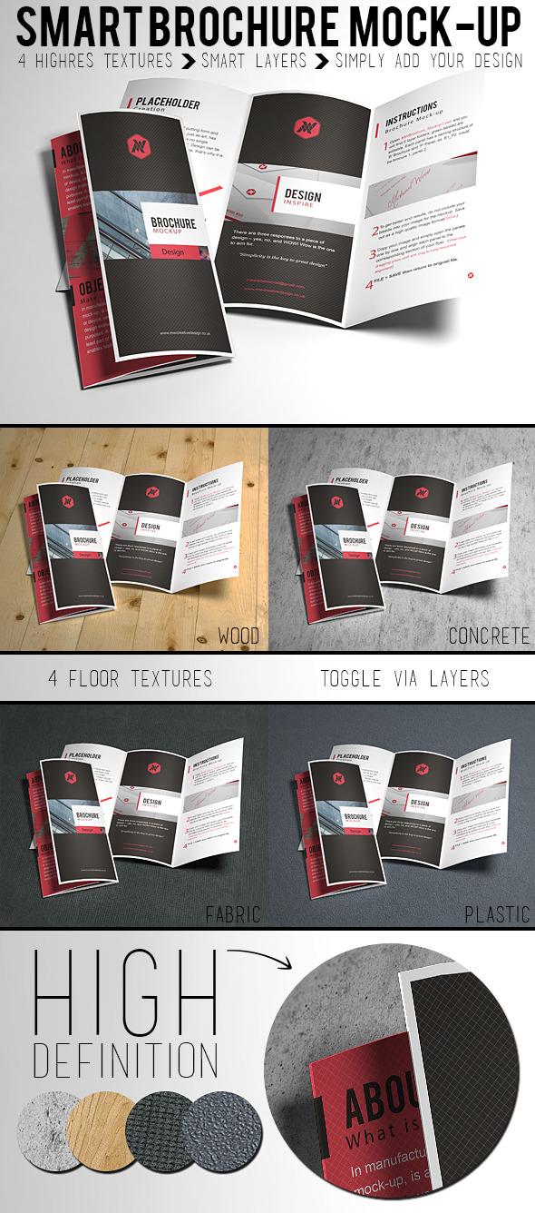 무료 3단 접지 브로셔 PSD 목업 - Free PSD Tri-Fold Brochure / Flyer Mockup