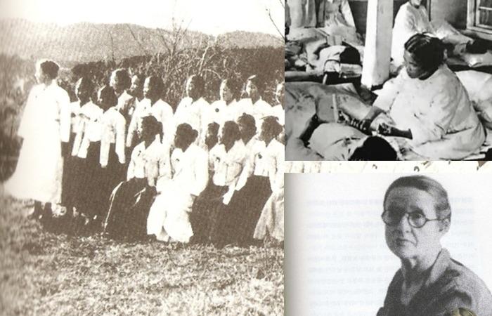 사진: 교회활동에 참가한 모습과 말년의 서서평 사진.
