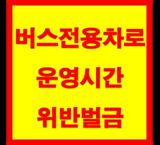 버스전용차로 운영 시간 및 위반 벌금