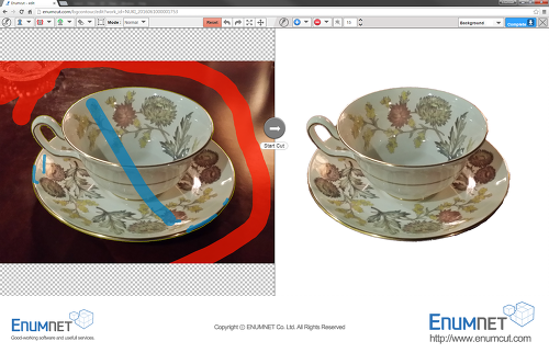 Enumcut.com[Tutorial-95]:Manual(Normal)Mode-teacup photo (complex background)-backgrund removal