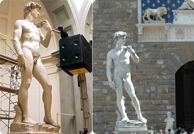 아카데미아의 원본 작품(왼쪽)과 피아차델라 시노리아 광장에 있는 모조품 (오른쪽)