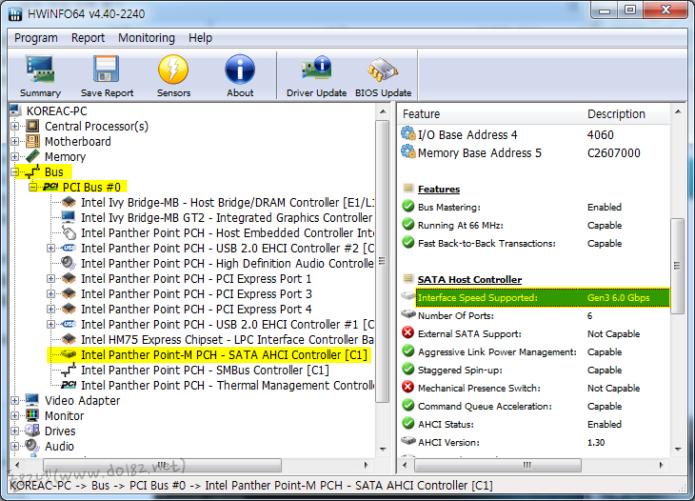 [Intel Panther Point-M PCH - SATA AHCI Controller]를 선택해 준다.