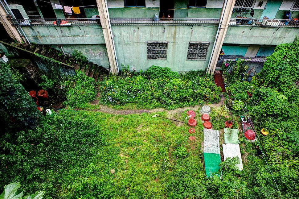 아파트 정원이 특이한 모양이다. 즐겨 찾는이는 없는듯 하지만 장독대와 김치독이 눈에 띈다.