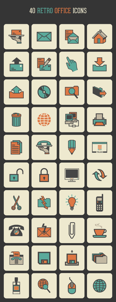 40 가지 레트로 오피스(retro office) 벡터 아이콘 - 40 Free Vector Retro Office Icons