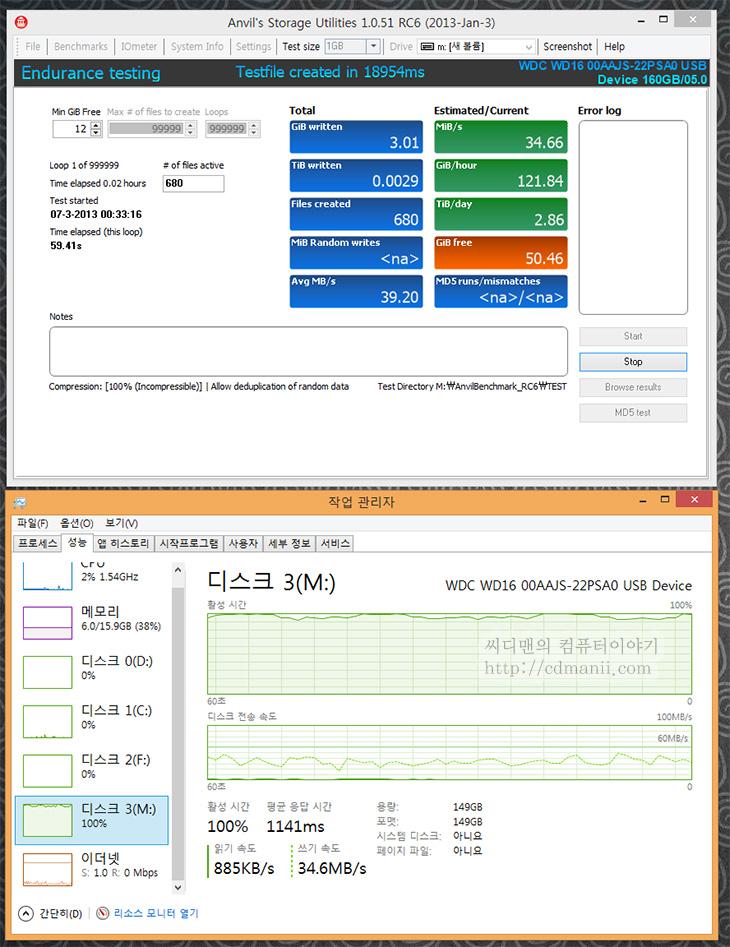 anvil's storage utilities 다운로드, anvil's storage utilities 사용법, anvils storage utilities, SSD 수명, SSD 쓰기 테스트, SSD 연속 쓰기 테스트, SSD 무한 쓰기 테스트, SSD, 사용법, 다운로드,