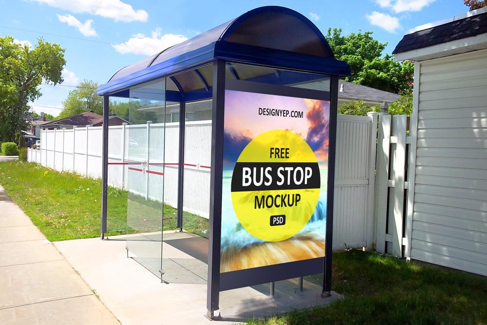 무료 포스터 버스 정류장 광고판 목업 PSD - Free Bus Stop Poster Mockup PSD