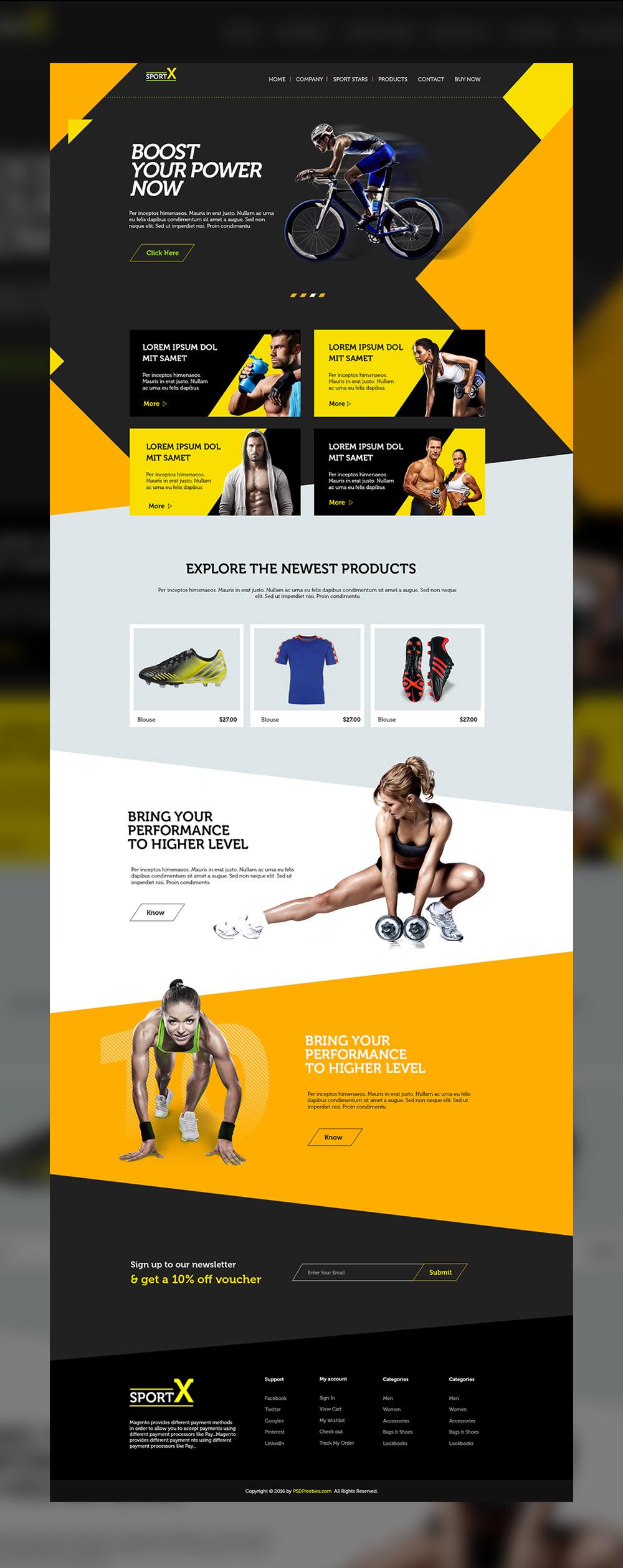 무료 스포츠 용품점 웹사이트 PSD 템플릿 - Free Sports Shop Website Multipurpose PSD Template