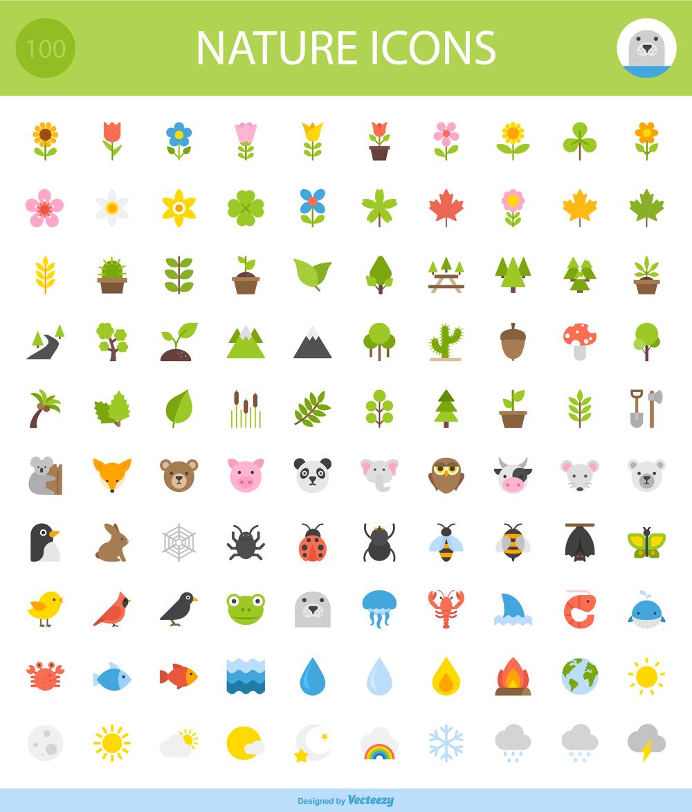 100 가지 무료 벡터 동물/식물/날씨/자연 아이콘 - 100 Free Vector Animal/Plant/Weather/Nature Icons