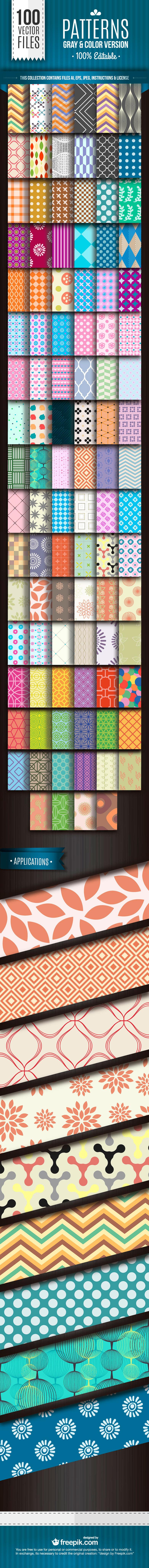 100 가지 무료 벡터 패턴 - 100 Free Vector Patterns