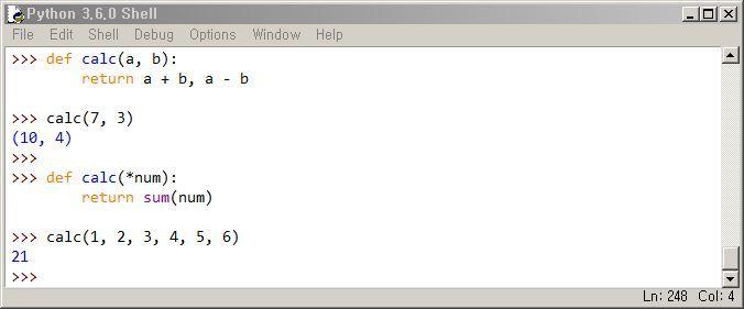 파이썬 함수 특징 (멀티 리턴, 가변인자)