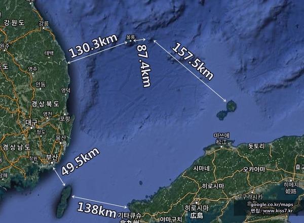 사진: 한국과 울릉도, 독도, 일본까지의 거리와 대마도 거리 비교 지도. 구글지도에 편집하였다. [독도 - 안용복 독도사건과 안용복의 생애와 활동]