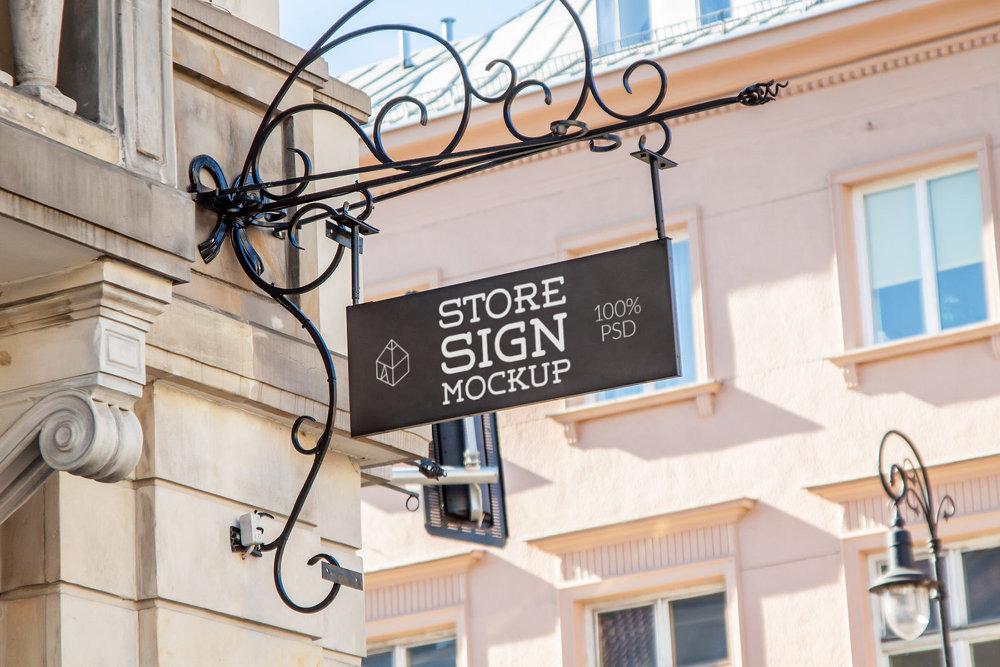 무료 간판 목업 PSD - Free Store Hanging Wall Sign Mockup PSD