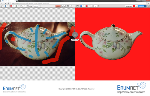 Enumcut.com[Tutorial-96]:Manual(Normal)Mode-teapot photo (complex background)-backgrund removal