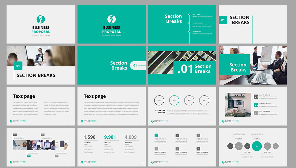 민트 톤의 깔끔한 사업계획서 PPT 템플릿 - Free Mint Color PowerPoint Template For Business Proposal