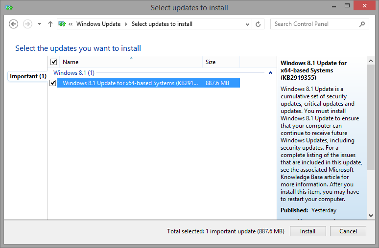 Windows 8.1 Update for x64-based Systems (KB2919355)
