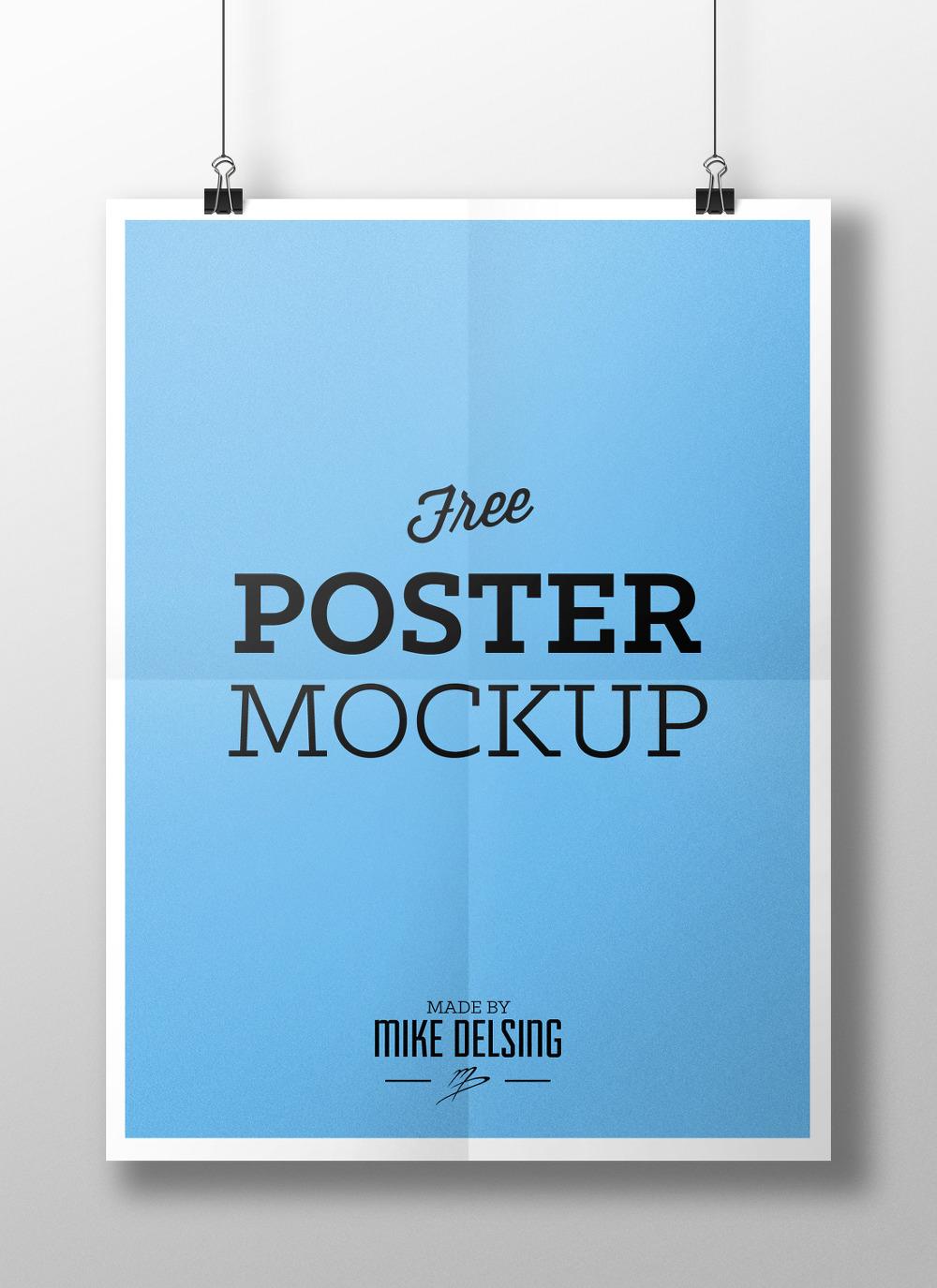 줄에 매달려 있는 포스터 목업 PSD - Free PSD Hanging Paper Poster Mockup