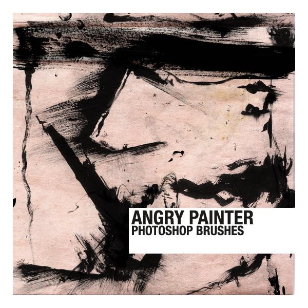거친 느낌의 무료 포토샵 붓 브러쉬 세트 - Free Angry Painter Photoshop Brushes