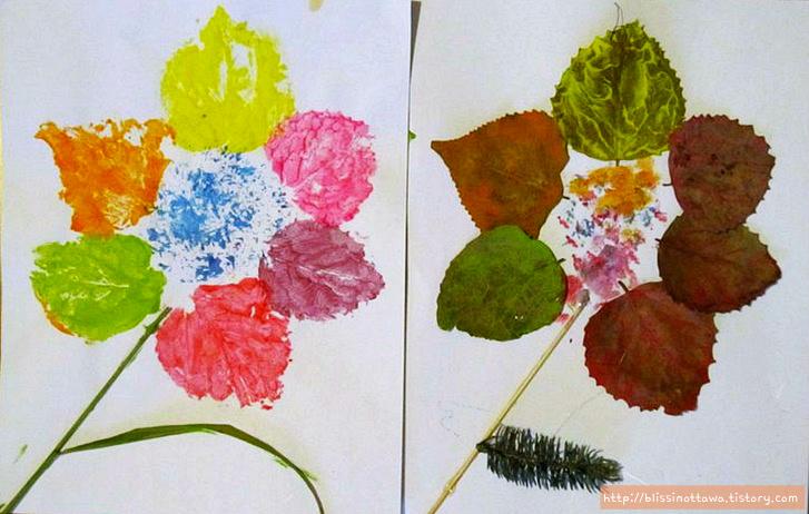 유아미술놀이 낙엽으로 꽃을 표현하기