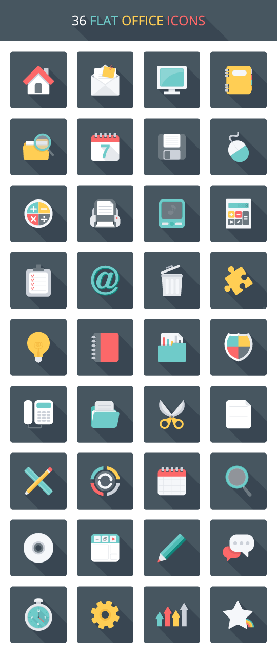 36 가지 플랫 오피스(flat office) 벡터 아이콘 - 36 Free Vector Flat Office Icons