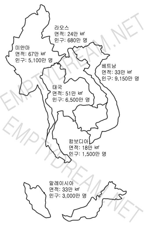 한국과 다른나라 면적, 인구 수 비교 - 한국은 인구밀도가 꽤 높은 나라