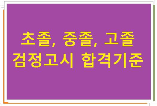 초졸, 중졸, 고졸 검정고시 합격기준