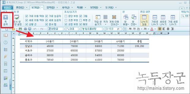 한글 2010 전체 화면보기와 여백없이 문서 보기