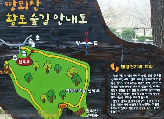 땅뫼산 황토길 맨발로 걷기