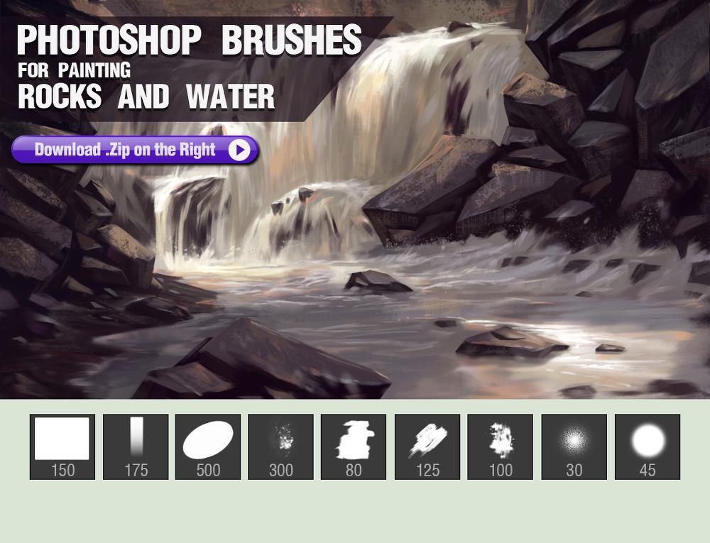 바위와 물, 계곡 그림/일러스트 작업에 좋은 9 가지 무료 포토샵 브러쉬 - 9 Free Photoshop Brushes For Painting Rocks And Water