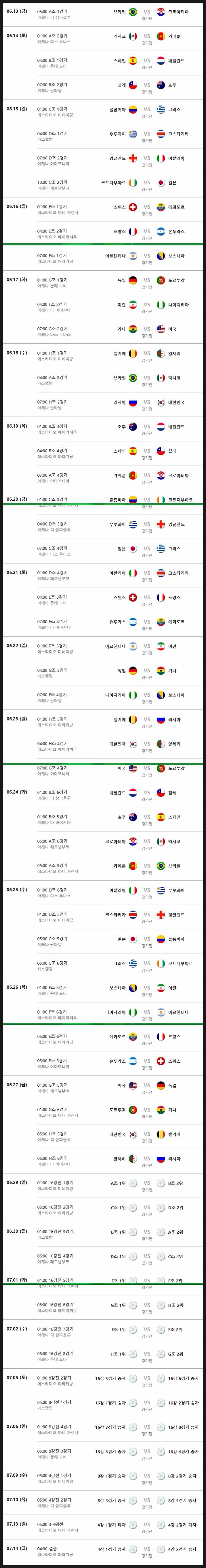 2014 브라질 월드컵 축구 경기 전체 일정