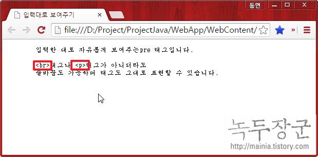 HTML 입력한 그대로 보여 주는 pre 태그 사용법