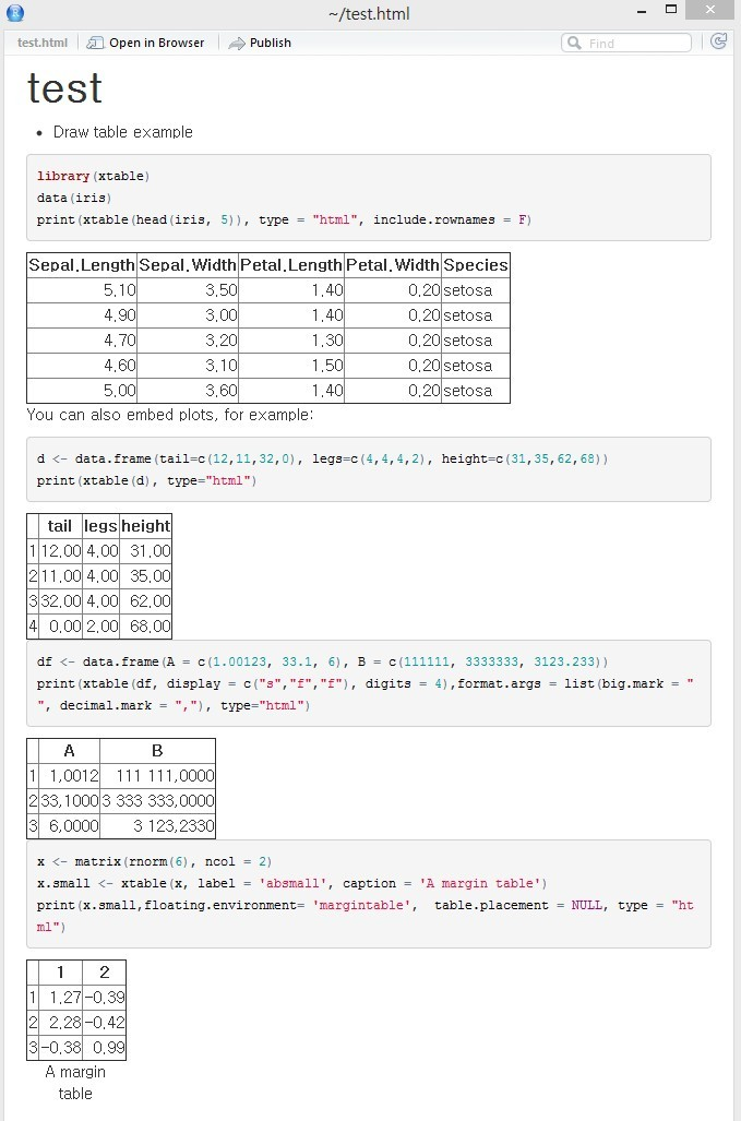 취미로 하는 프로그래밍 !!! :: R markdown -- table 그리기