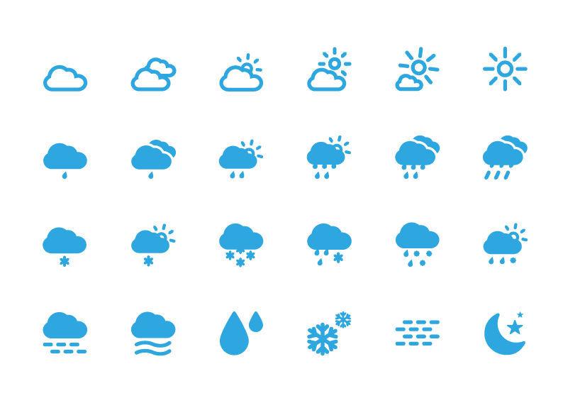 [구름,날씨]스마트폰 심플한 아이콘/벡터 이미지 포함 Weather Icons Set Vector Illustration