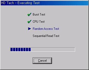 HD Tach 테스트 시작