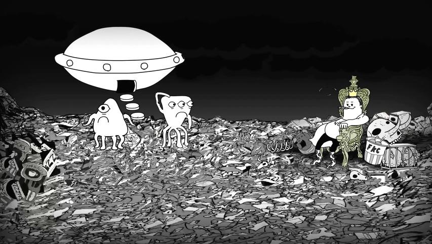 사람/인간이 얼마나 자연과 환경에 나쁜 영향을 미치는 존재인지 보여주는 3분간 보여주는 단편 애니메이션, 스티브 커츠(Steve Cutts)의 '인간(Man)'