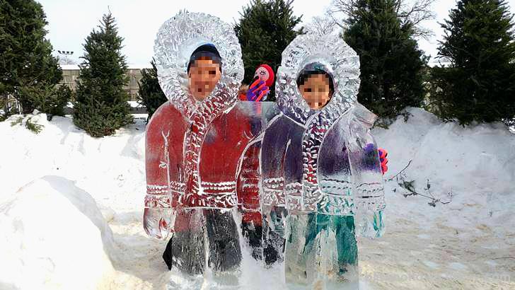 캐나다 북부 에스키모 얼음 조각상입니다