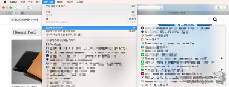 macOS 사파리에서 실수로 닫은 창 복구법