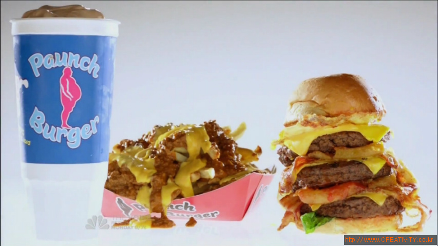 미드 '팍스 앤 레크리에이션(Parks and Recreation)'속에서 극중 등장하는 세상에서 가장 솔직한 햄버거 광고 - 파운치버거(Paunch Burger/똥배버거) TV광고 [한글자막]