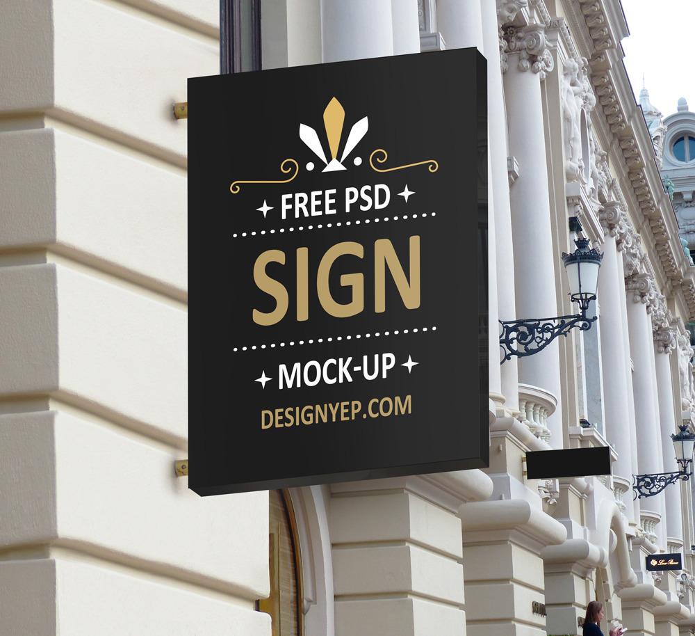 무료 간판 목업 PSD - Free Shop Sign Mockup PSD
