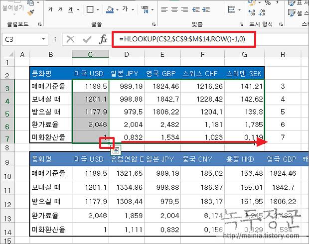 엑셀 Excel 자료를 채워 넣을 때 HLOOKUP 과 ROW 함수를 이용하는 방법