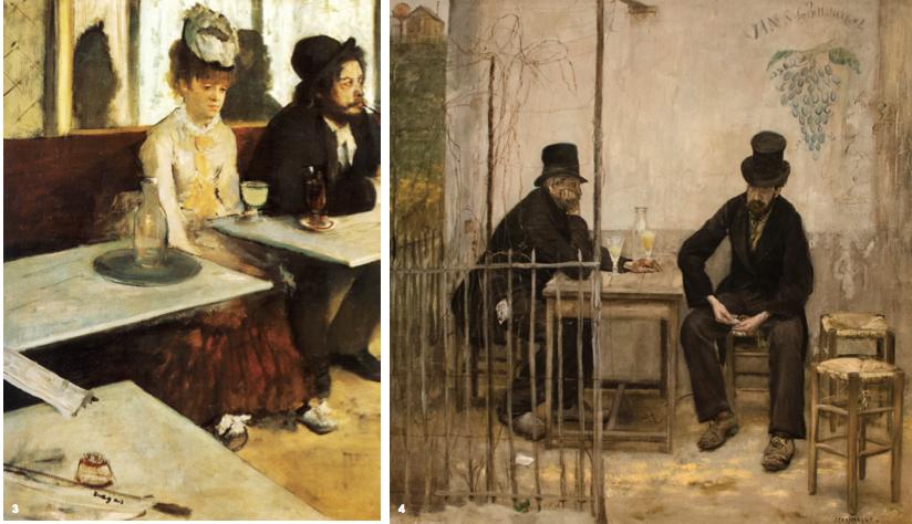 3. 'The Absinthe Drinker', Edgar Degas, oil on canvas, 92×68cm, 1876, Musee d'Orsay, Paris 4. 'The Absinthe Drinkers', Jean Francois Raffaelli, oil on canvas, 107.9×107.9cm, 1881, Fine Arts Museums of San Francisco, California