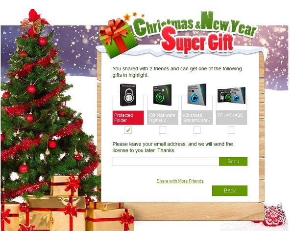 Christmas&New Year Advanced SystemCare 7, Iobit Malware Fighter 2, Protected Folder 6개월 프로모션