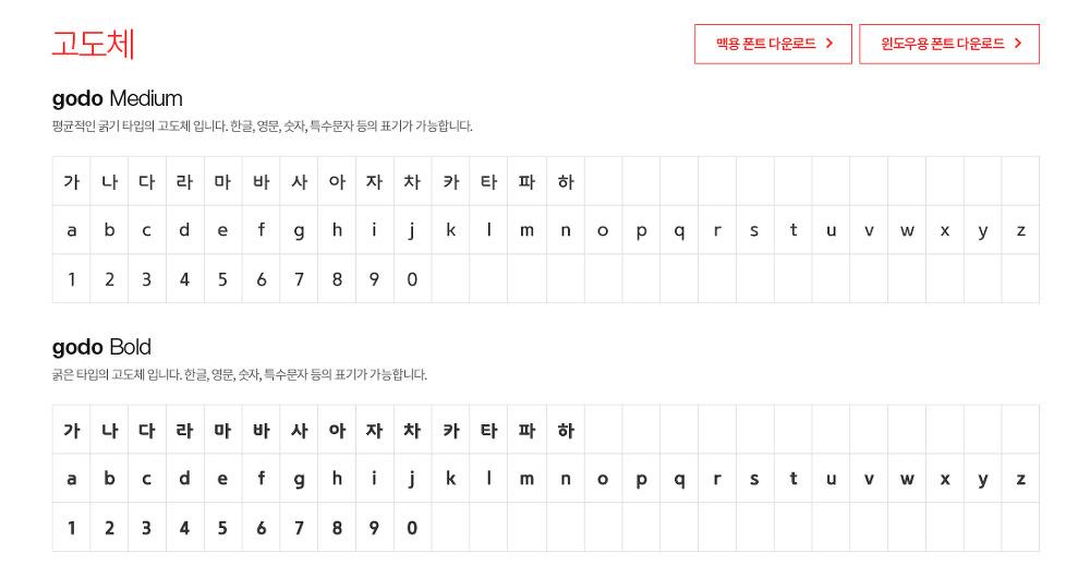 온라인 쇼핑몰 서비스의 대표 업체 고도가 제공하는 2 가지 무료 한글폰트 : 고도체, 고도 라운디드체 - 2 Free Korean Fonts : godo, godoRounded