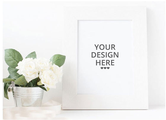 Free White Picture Frame Mockup