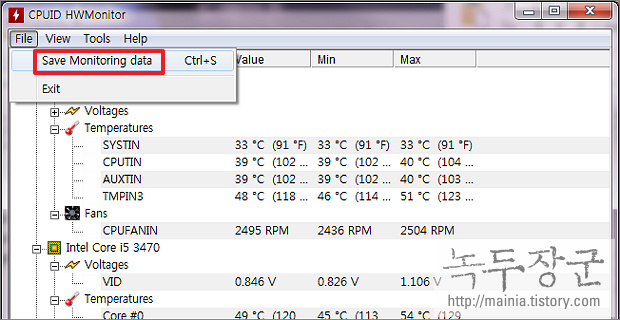 윈도우7 Windows7 CPU 온도 측정 프로그램, HWMonitor