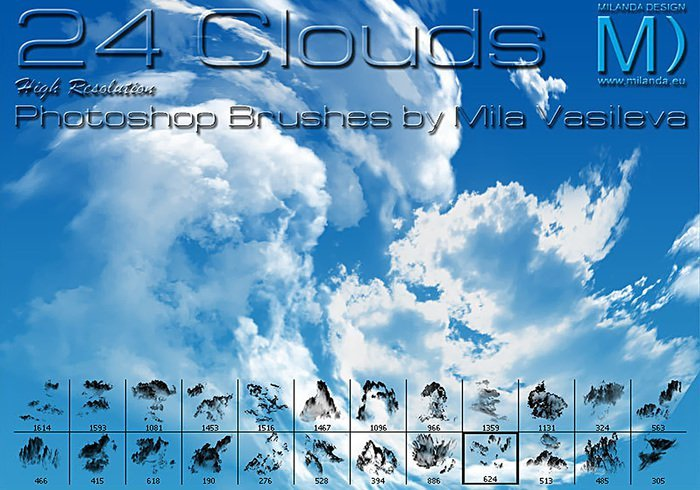 24 가지 구름(clouds) 포토샵 브러쉬 - 24 Free High-Resolution Clouds Photoshop Brushes