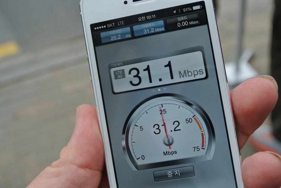 LTE 정액제는 끝이 났다!  이제는 속도의 전쟁 광대역 LTE 속도 측정